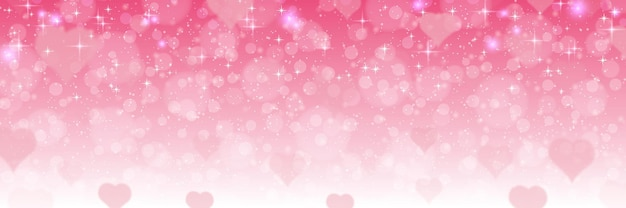Valentine's day pink blurred banner template. pink background with hearts and light effects
