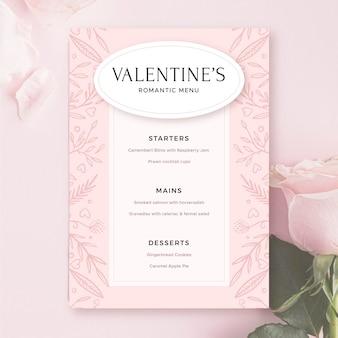 Шаблон розового меню на день святого валентина