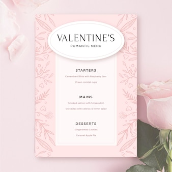 Valentine's day pink menu template