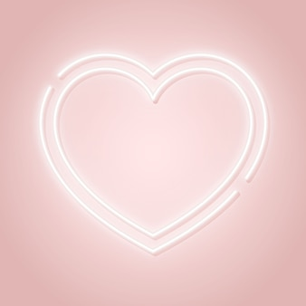Valentine's day pink signboard with glowing heart silhouette.