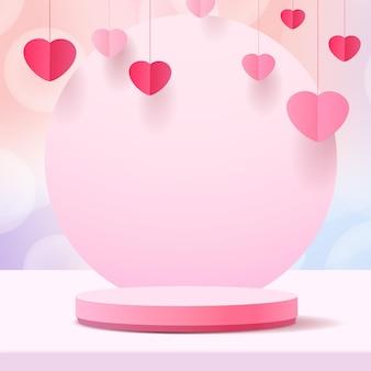 バレンタインデーの表彰台。スタンド製品のプレゼンテーション。 3dリアルなスタイル。