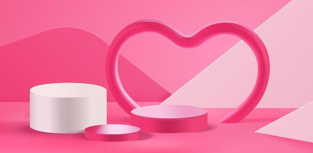 발렌타인 데이 연단 장면 및 심장 모양 3d 제품 디스플레이 프레젠테이션