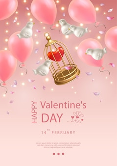 Valentine's day poster. creative composition of flying white porcelain birds, balloons, petals and birdcage