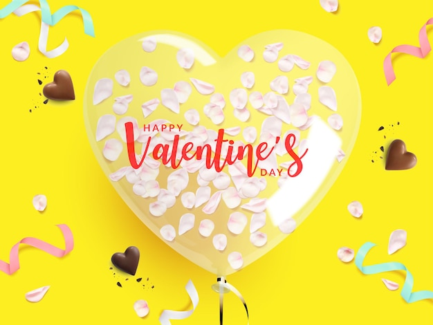 Valentine's day poster. heart shaped balloon with a rose petal inside, chocolate ,ribbon on yellow background.