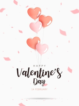 Valentine's day poster. helium heart shaped pink and orange balloons with confetti.