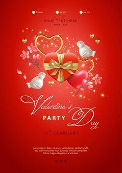 バレンタインデーのポスター。ハート型の赤いギフトボックス、磁器の鳥や花