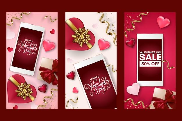 Набор плакатов ко дню святого валентина со смартфоном, подарочной коробкой, сердечками и бантами.