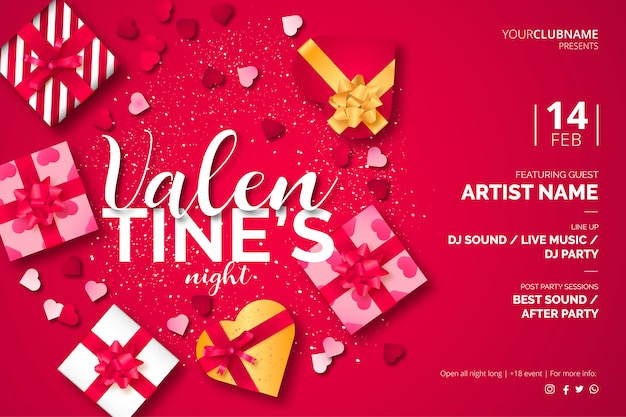 Valentine's day poster template with lovely presents