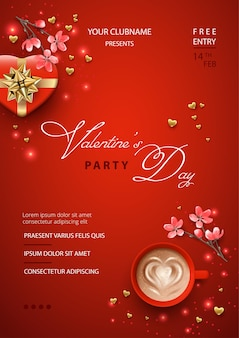 Valentine's day poster with gift box in heart shape, pink flowers and a cup of coffee