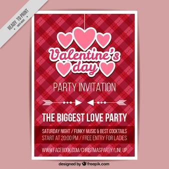 하트와 체크 무늬 배경 발렌타인 데이 포스터