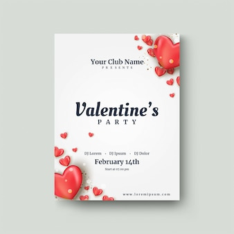 Valentine's day poster with a red 3d love balloon