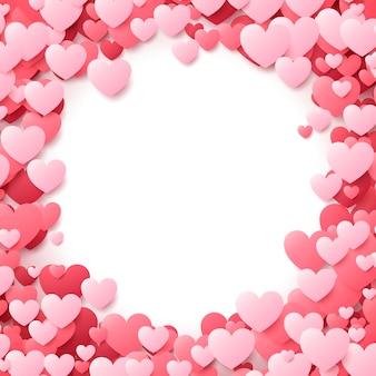 赤とピンクのハートのバレンタインデーのポスター。バックグラウンド。