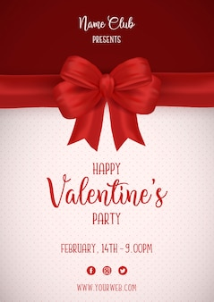 Valentine's day poster with red bow