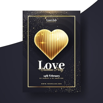 Valentine's day realistic party flyer template