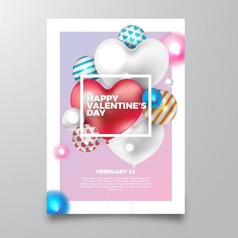 Valentine's day realistic party flyer
