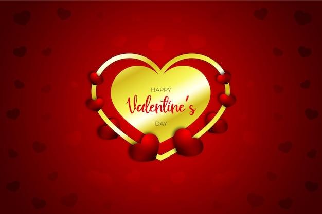 バレンタインデーの現実的な甘い心、スタイル、赤いバナーまたは背景