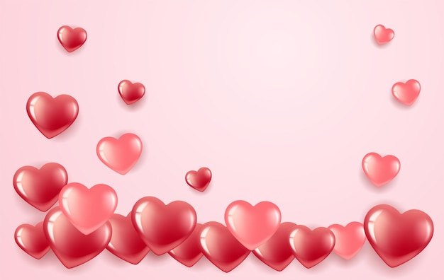 День святого валентина. красные и розовые сердечки в виде рамки. на розовом фоне.