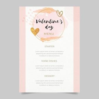 Modello di menu del ristorante di san valentino