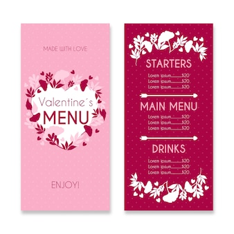 Valentine's day restaurant menu