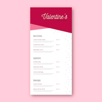 Valentine's day restaurant menu