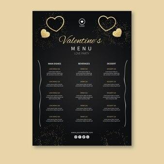 Меню ресторана ко дню святого валентина