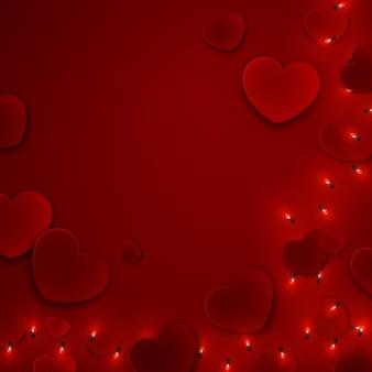 День святого валентина романтическая любовь фон шаблон с сердечками, иллюстрация