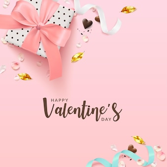 Valentine's day romantic poster background square.