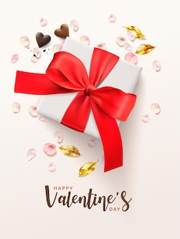 Valentine's day romantic poster background vertical.