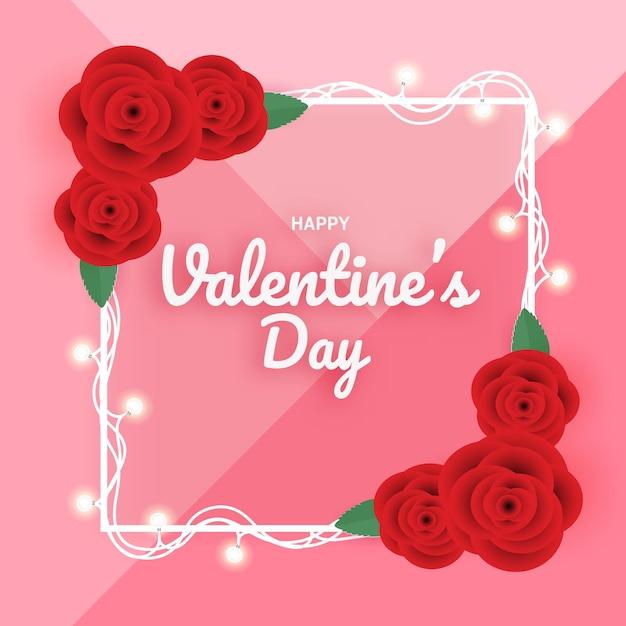 Шаблон рамки с розой на день святого валентина