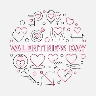 Valentine's day round icon illustration in thin line style