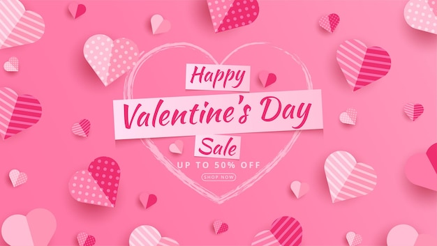 Valentine's day sale 50% off poster or banner with many sweet hearts and on red .promotion and shopping template or for love on paper style