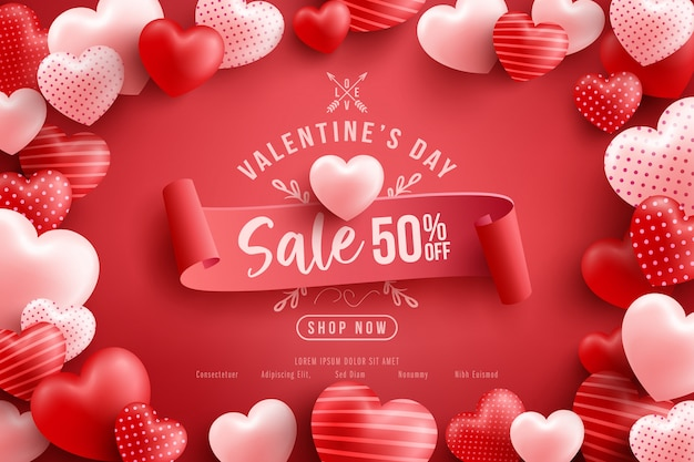 Valentine's day sale 50% off poster or banner with many sweet hearts and on red .promotion and shopping template or  for love and valentine's day