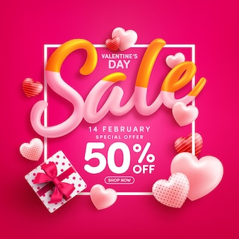 Valentine's day sale 50% off poster or banner with sweet hearts and gift box on red