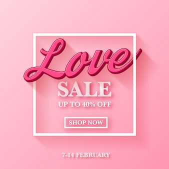 Valentine's day sale ad design with 3d typography