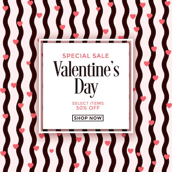 Valentine's day sale ad with seamless pattern background