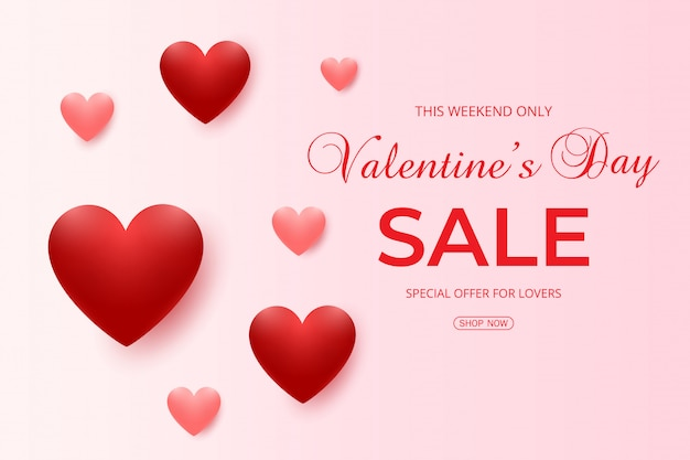 Valentine's day sale background with pink and red hearts balloons