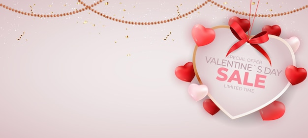 Valentine's day sale banner background design
