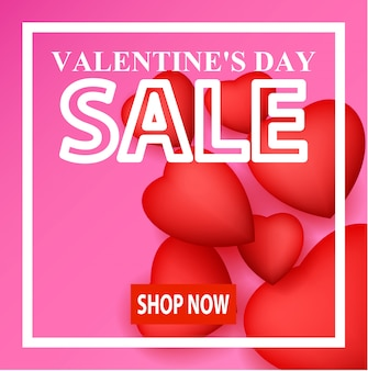 Valentine's day sale banner design, shop now