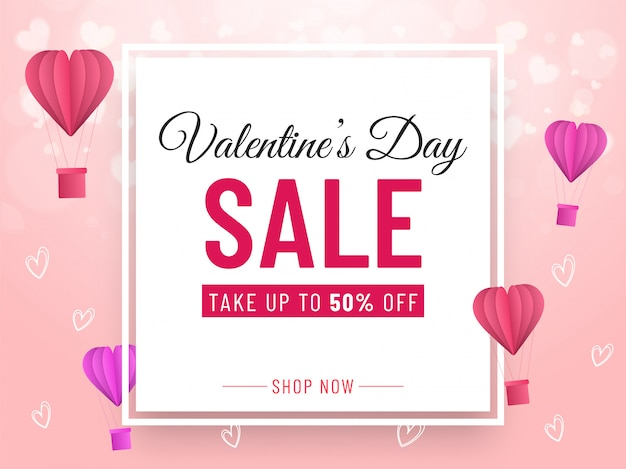Valentine's day sale banner design with 50% discount offer, paper cut hot air balloons and hearts decorated on pink background.