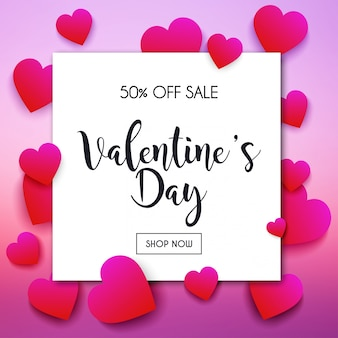 Valentine's day sale banner in a frame. poster, flyer. blurred background. illustration.
