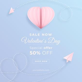 Banner di vendita di san valentino in stile carta