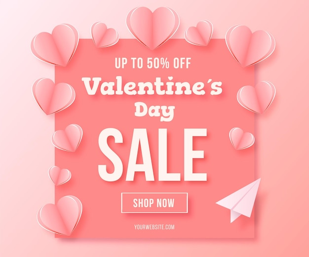 Valentine's day sale banner on paper style