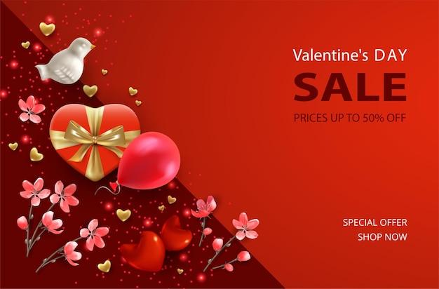 Баннер продажи дня святого валентина. реалистичные атрибуты и символы дня святого валентина