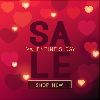 Valentine's day sale banner in red colors and shining hearts