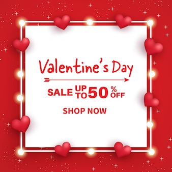 Баннер продажи дня святого валентина. продажа до 50%.