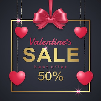 Valentine's day sale banner template background