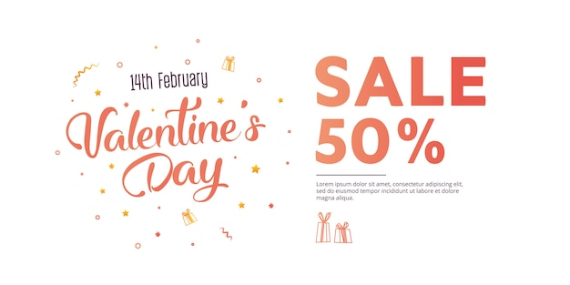 Valentine's day sale banner template design.
