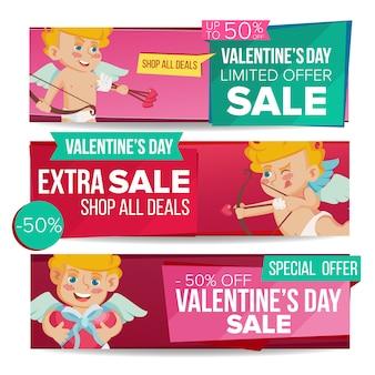 Valentine's day sale banner template set