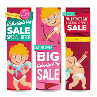 Valentine's day sale banner template set