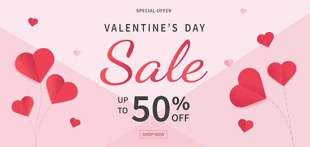 Шаблон баннера продажи дня святого валентина. день святого валентина с сердечками из красной бумаги.